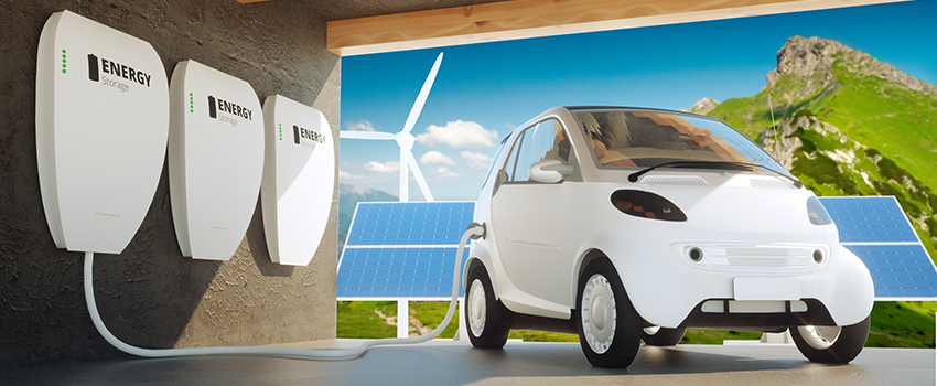 "3D rendering of a white mini electric car charged through ""Energy Storage"" tank on the wall. In the background is solar panel and wind mill."